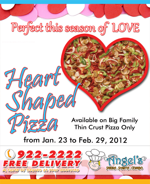 Angel's Pizza and Pasta Combo Heart-Shaped Pizza