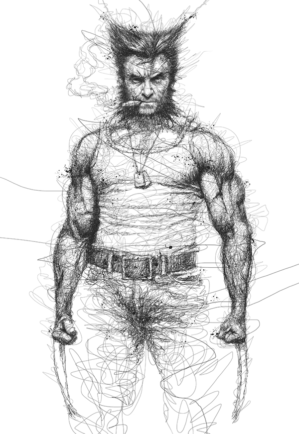 04-X-men-Wolverine-Hugh-Jackman-Vince-Low-Scribble-Drawing-Portraits-Super-Heroes-and-More-www-designstack-co