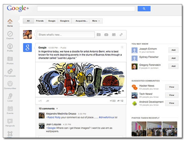 L'ancienne interface de GooglePlus
