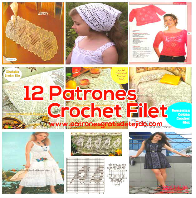 12 Patrones variados para tejer en técnica Crochet Filet | Crochet y ...