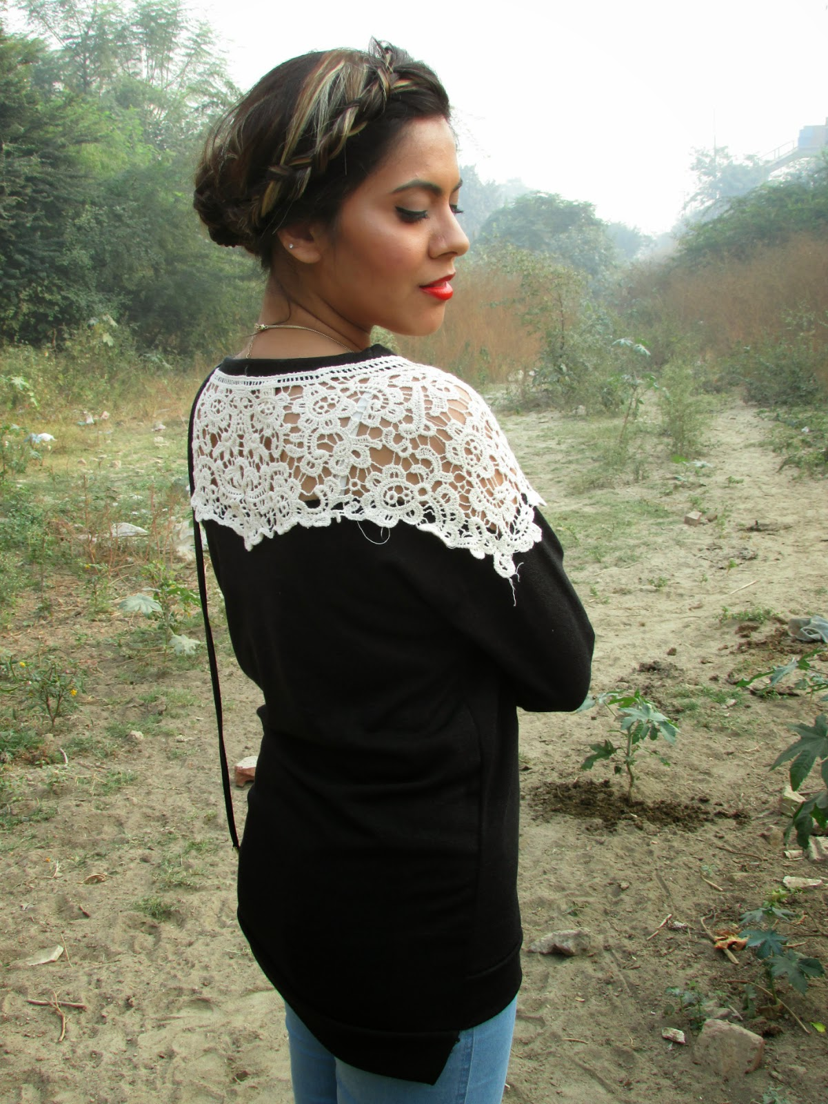 fashion, yesfor, yesfor.com, winter, pullover, vintage pullover, lace, lace sleeve pullover, crochet, vintage pullover, cold shoulder sweater