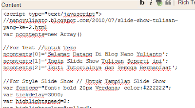 Contoh kode Slide Show Tulisan Background dari Bawah di Add a Gadget