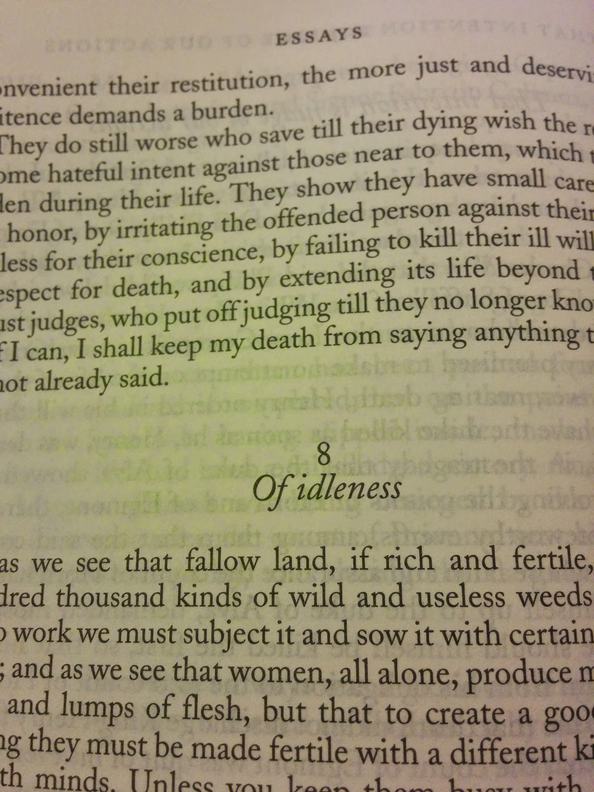 of idleness by michel de montaigne from the complete works my two weeks of family time rest and relaxation i decided over the weekend to crack open my copy of the complete works and see what montaigne has to