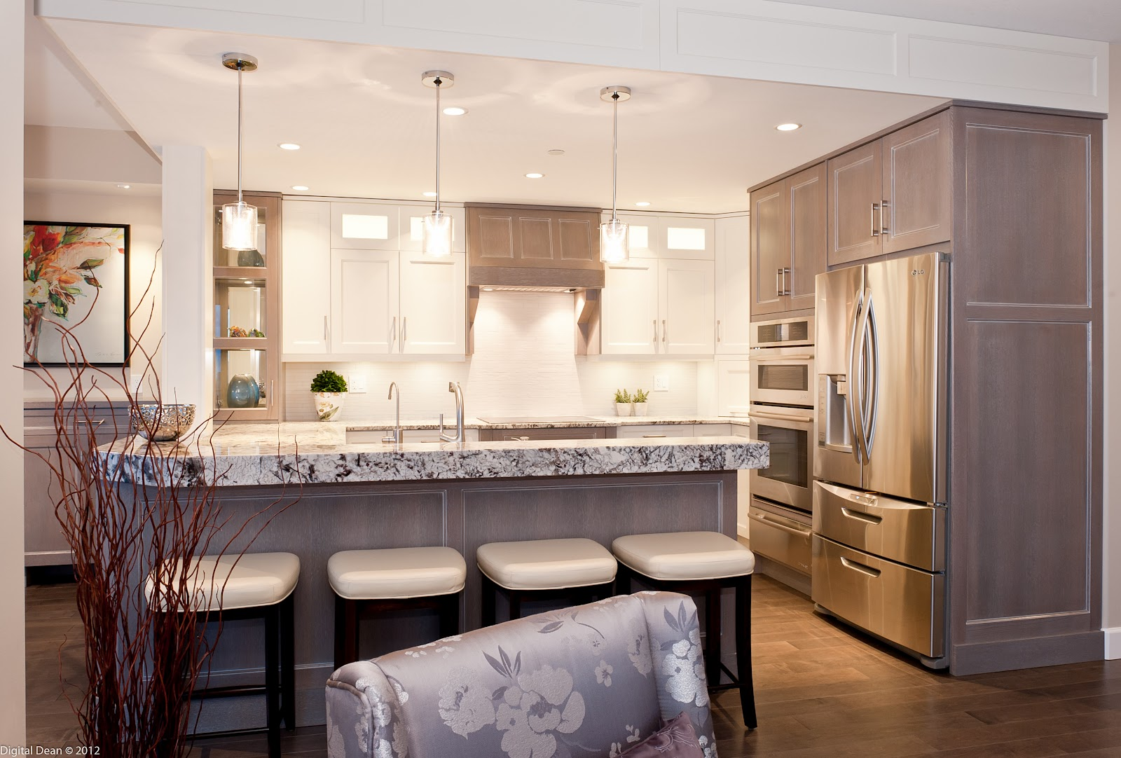 White Pickled Oak Kitchen Cabinets