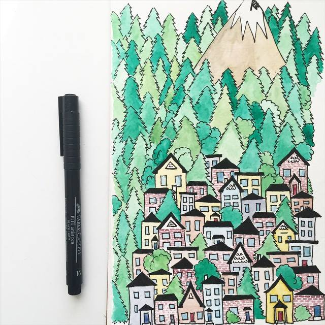 Kori Clark Design watercolor mountain chalets