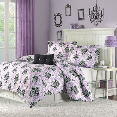 Purple Black Damask styles are very trendy right now with tween and