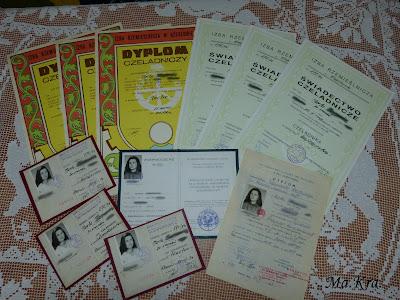 dyplomy czeladicze z haftu, dyplom czeladniczy z tkactwa, dyplom czeladniczy z koronki