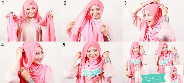 Cara Memakai Jilbab Segi Empat Cantik