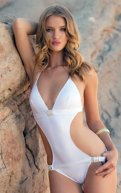 Rosie Huntington Whiteley in white swimsuit