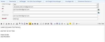 E-Mail-Formular in Zoho CRM