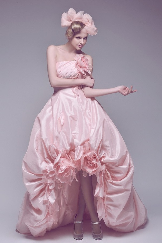 beautiful pink high low wedding dresses