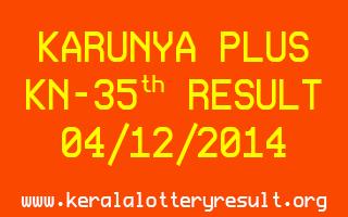 Karunya Plus Lottery KN-35 Result 04-12-2014