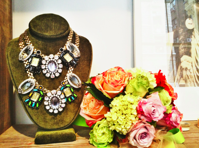 lulu frost, lulu frost 2014 jewelry, lulu frost collection, lulu frost neon brocade party, statement jewerly