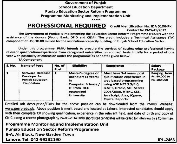 Jobs for Software Database Developer in Punjab Education Sector Reform Programme, Lahore