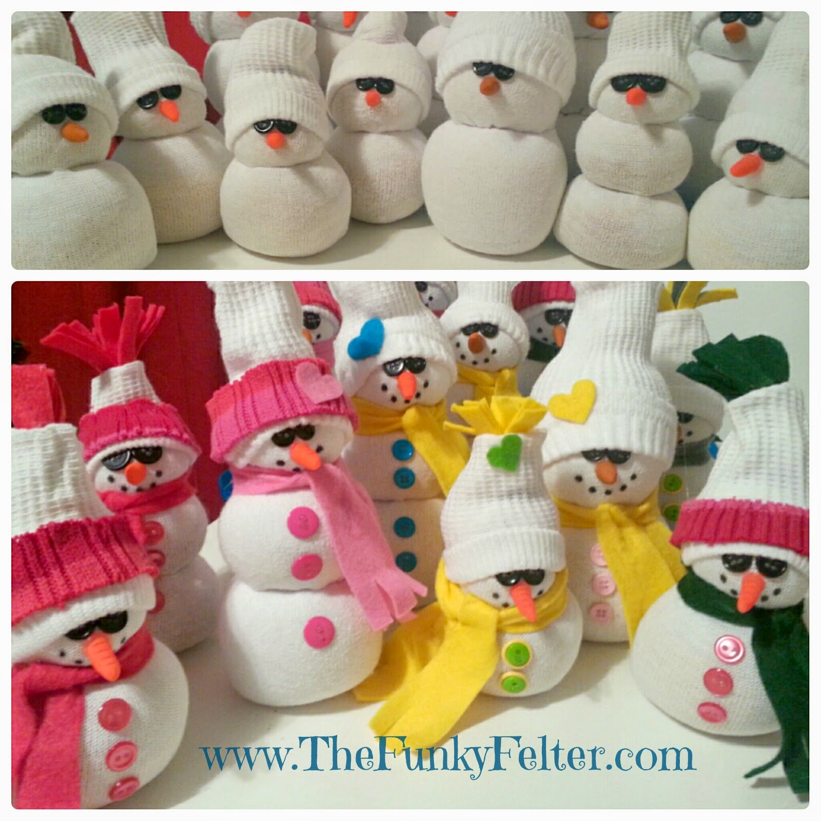how to make sock snowman easy craft tutorial by the funky felter