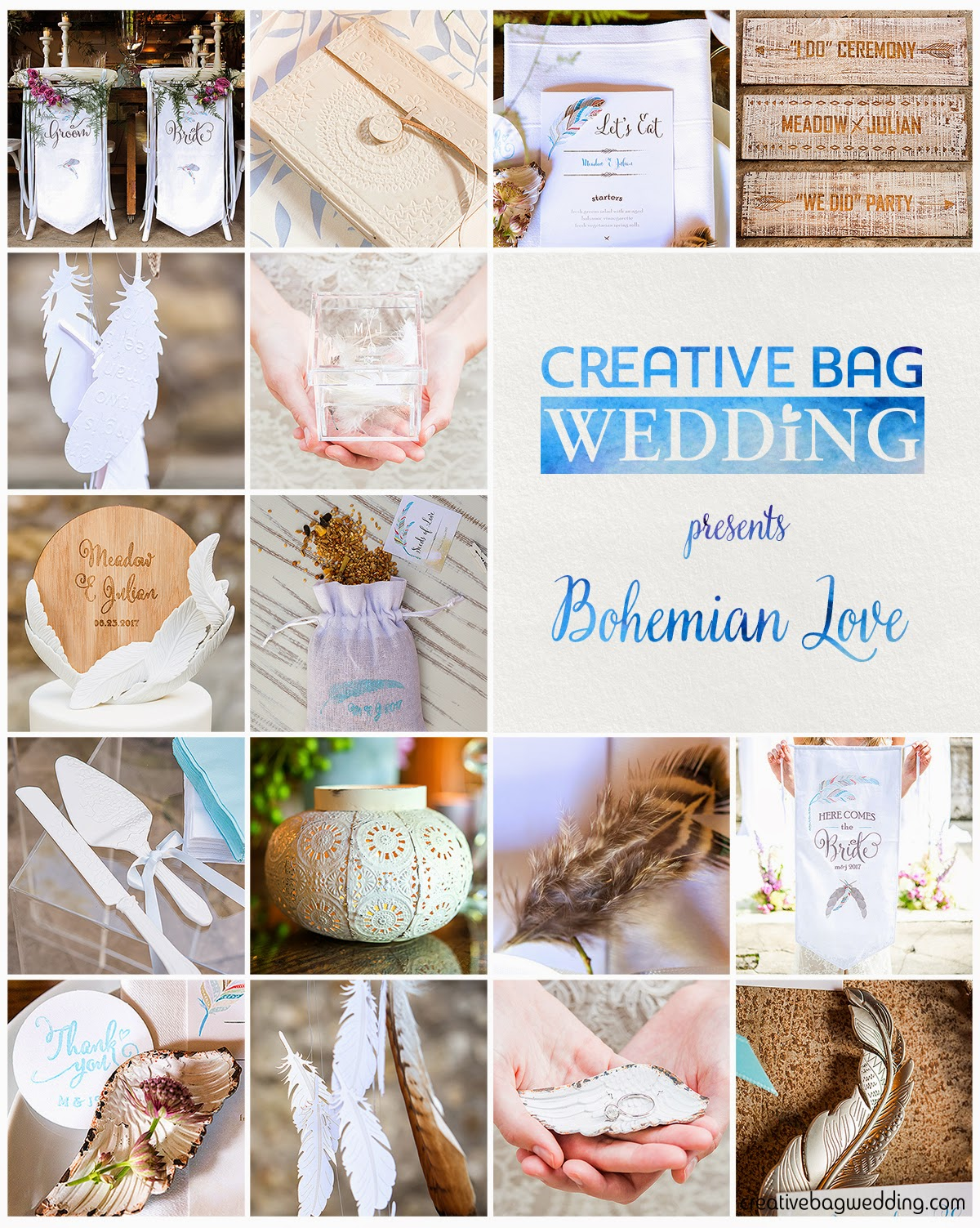 bohemian love mood board | Creative Bag Wedding