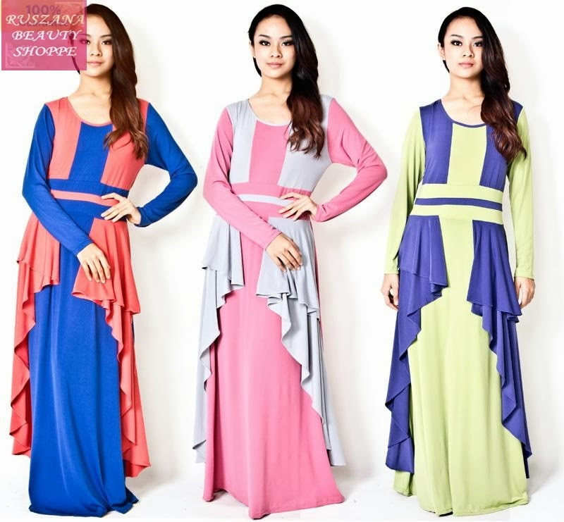 RS71 35 TWO TONE RUFFLES JUBAH DRESS