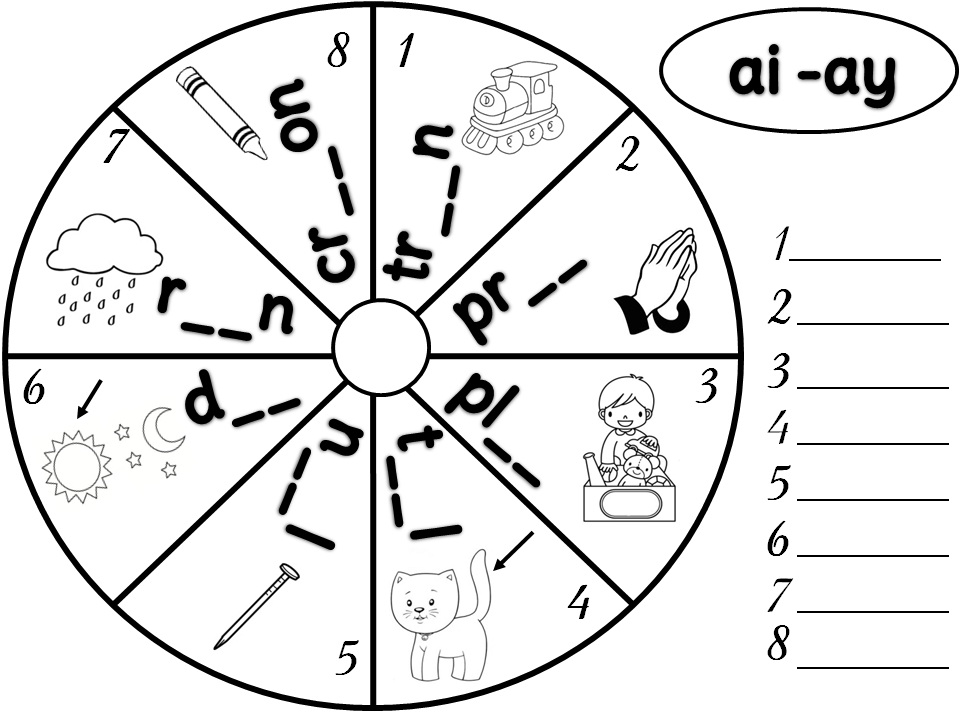AI and Ay Phonics Worksheets http://lusine13.blogspot.com/