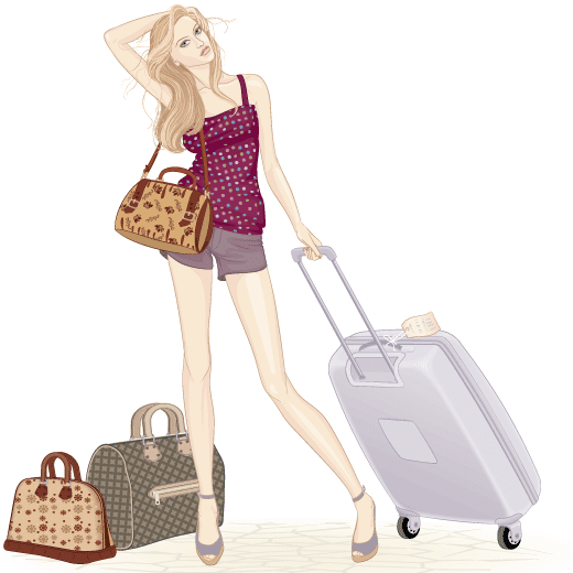 Chica en aeropuerto - Vector