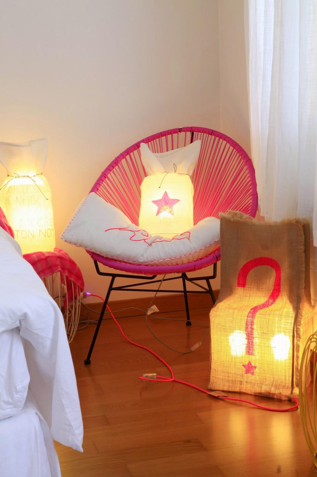 lampes réalisées à la main en france avec du lin et de la toile de jute - homologuées