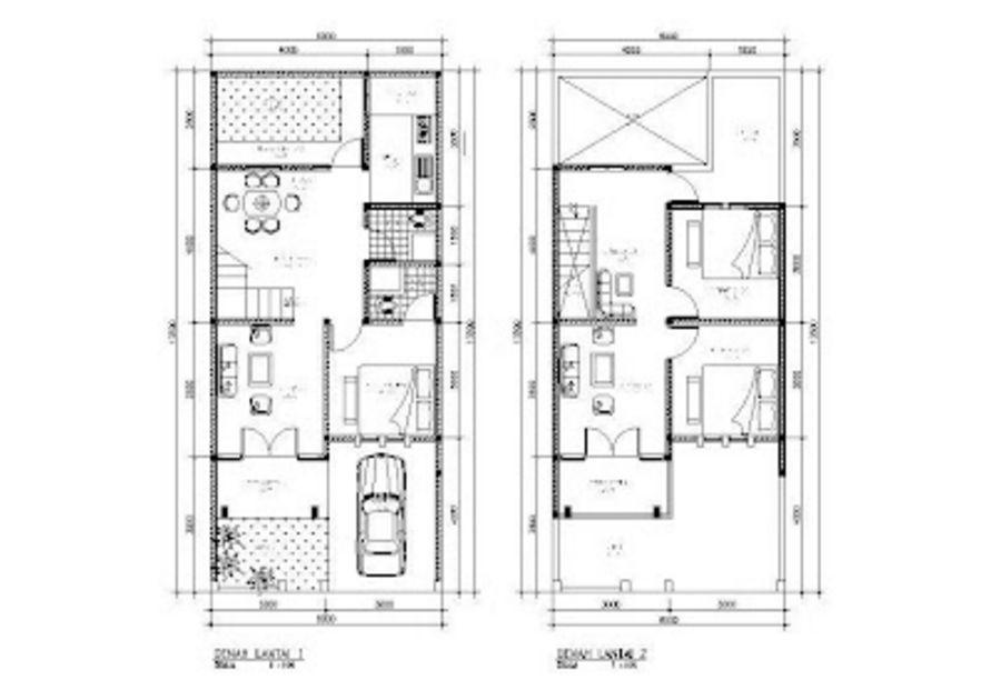 model denah 3 kamar mandi 2 lantai unik