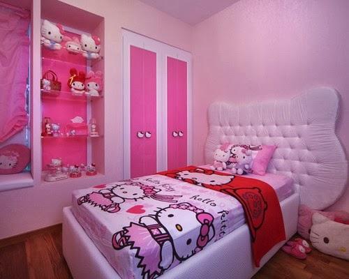 kamar tidur wanita remaja dan dewasa bertema hello kitty