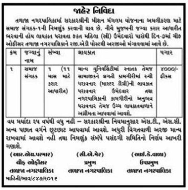 Talaja Nagarpalika Recruitment 2016