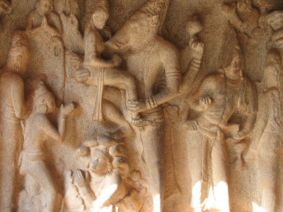 Carvings on wall of Varaha Cave Temple, Mahabalipuram