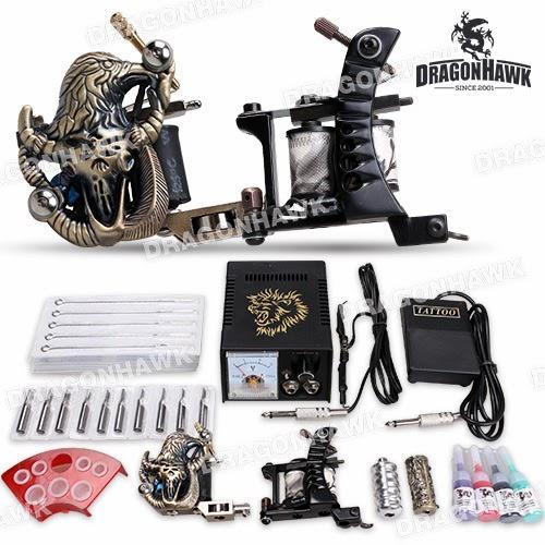 Tattoo supplies starter tattoo kit 2 machine guns tattoo for Difference between shader and liner tattoo machine