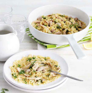 One-pot chicken with orzo and dill