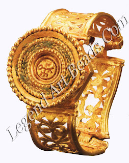 """During the 6th century C.E., cross monograms replaced box monograms. At the center of this elaborate bracelet is a cross monogram of its owner's name, Sergius: ceptrov, """"of Sergius."""""""
