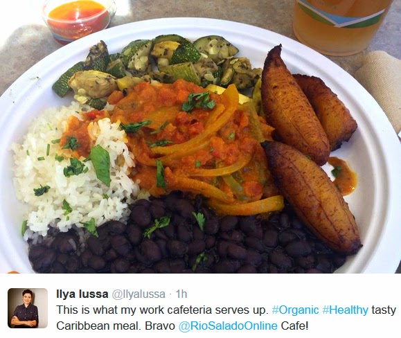 "Photo and Tweet from Maricopa Colleges employee Ilya Lussa.  Image of a her lunch with tweet: ""This is what my work cafeteria serves up.  #Organic #Healthy tasty Caribbean meal.  Bravo @RioSaladoOnline Cafe!"