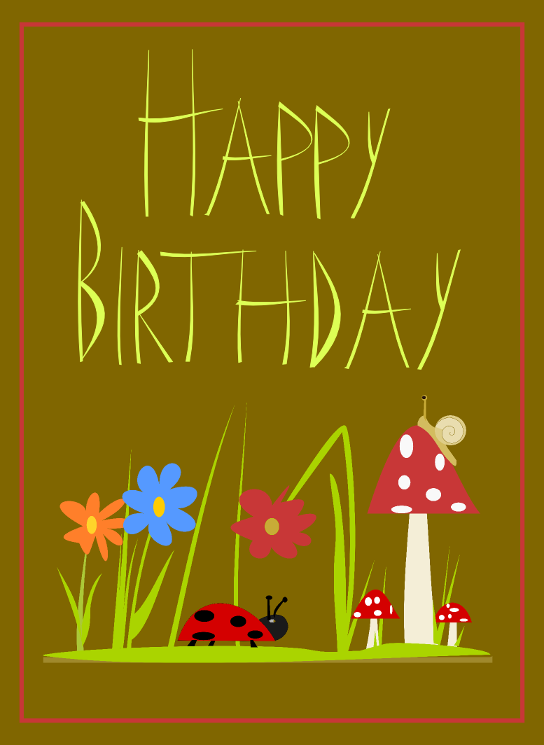 happy birthday card with mushroom