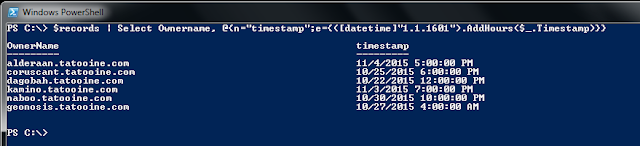 DNS records with time stamps