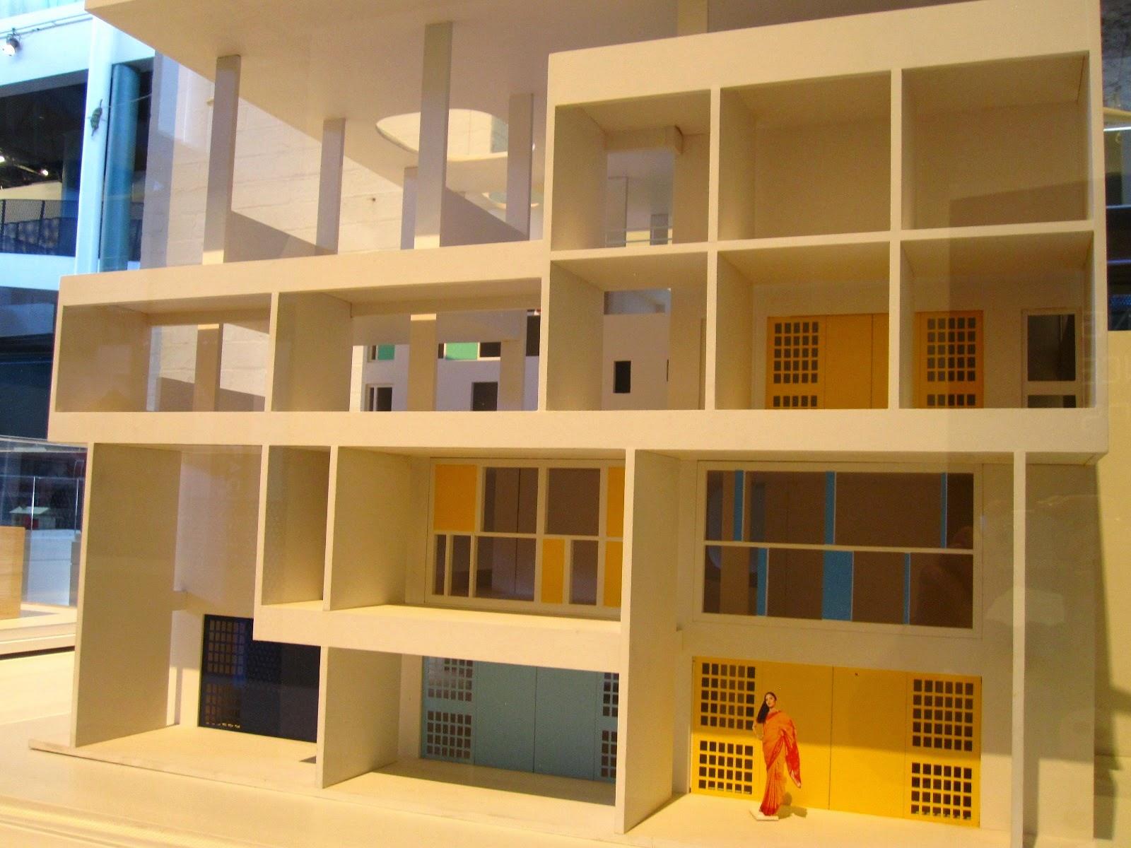 Front view of a model of Le Corbusier's Villa Shodhan.