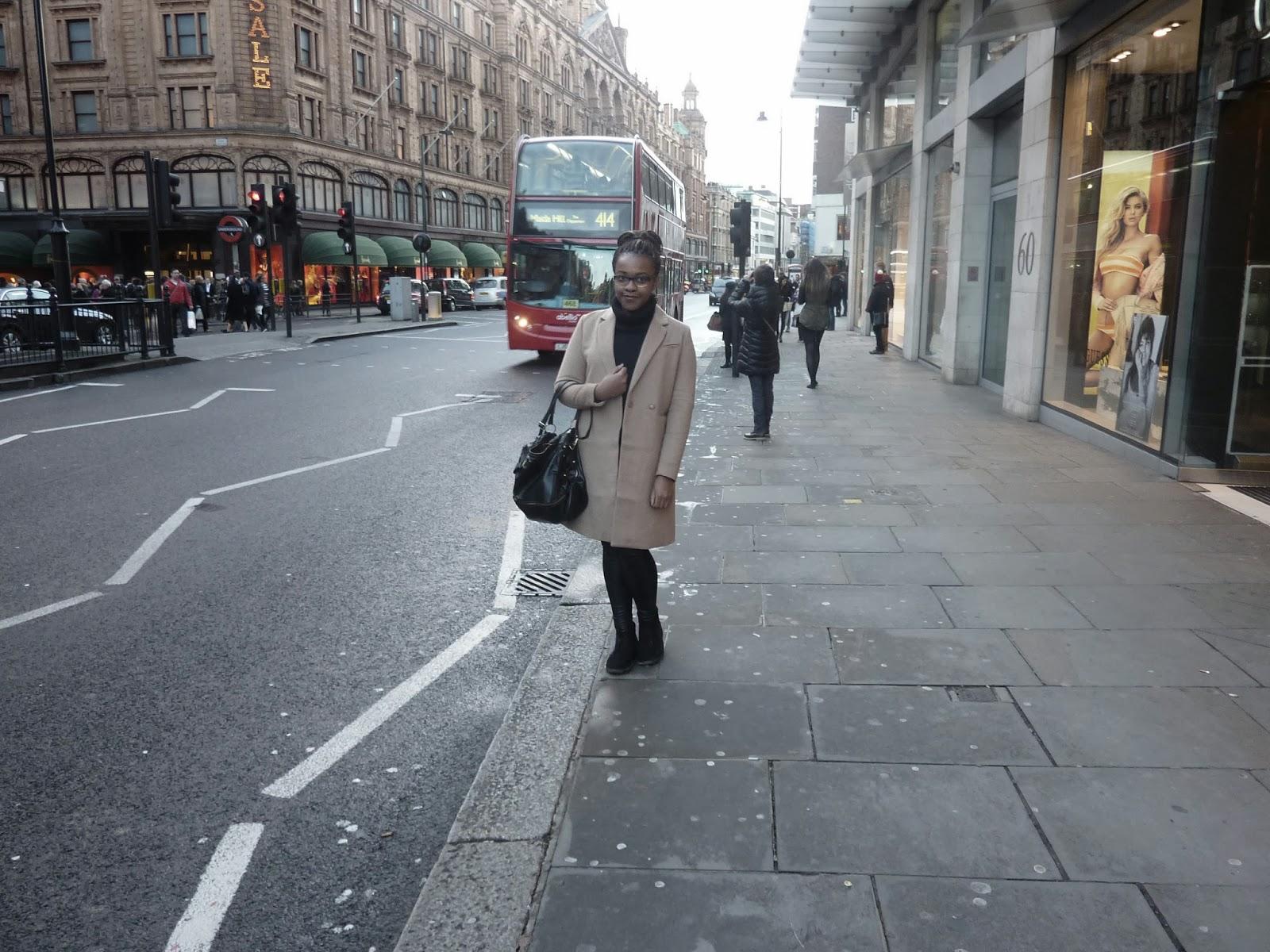 London Knightsbridge Harrods Shopping Red Bus H&M Camel Coat Like Kim Kardashian