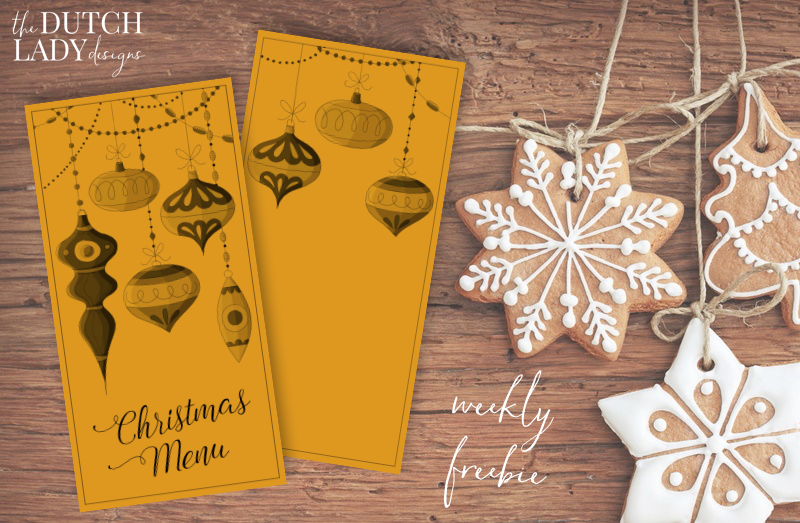 free christmas menu cards