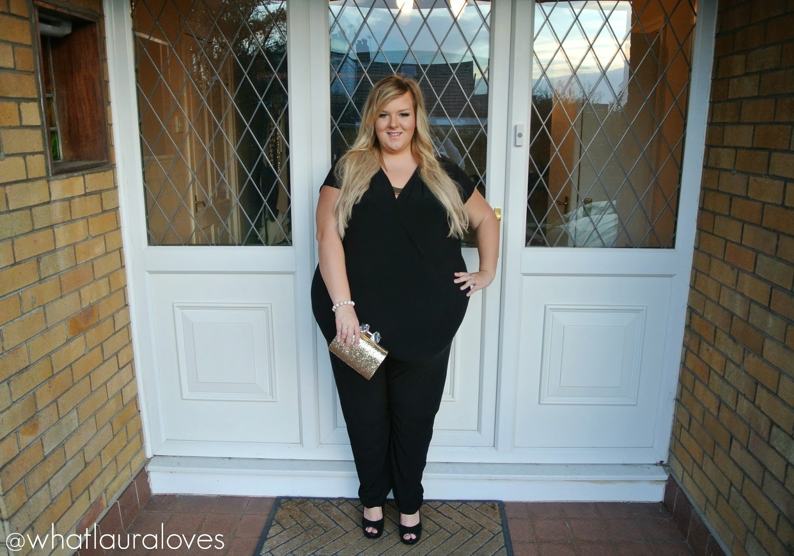 So Fabulous Very Plus Size Jumpsuit with Gold Necklace