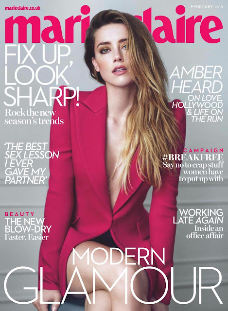 Actress, @ Amber Heard - Marie Claire UK, February 2016