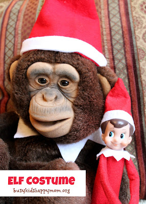 Ideas for Christmas Fun with your Elf-on-the-Shelf. Matching hats and collar for the stuffed monkey.