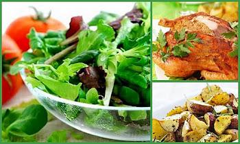 Ensalada verde, pollo con hiervas y miel y papas al horno!