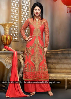 Off-White n Black Double Bottom Palazzo Suits / Orangish Red Georgette Hina Khan Palazzo Suits