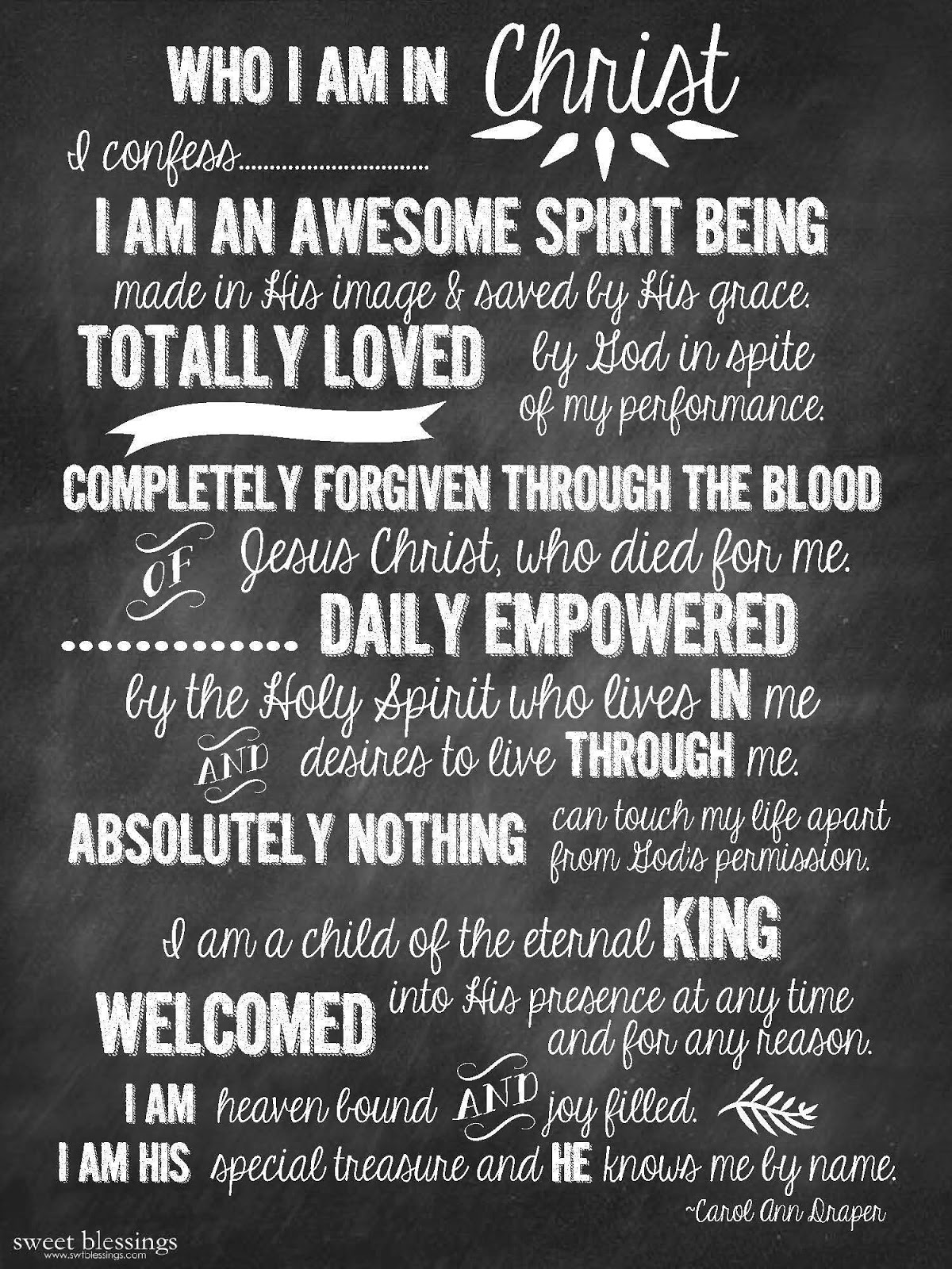 Enterprising image within who i am in christ printable