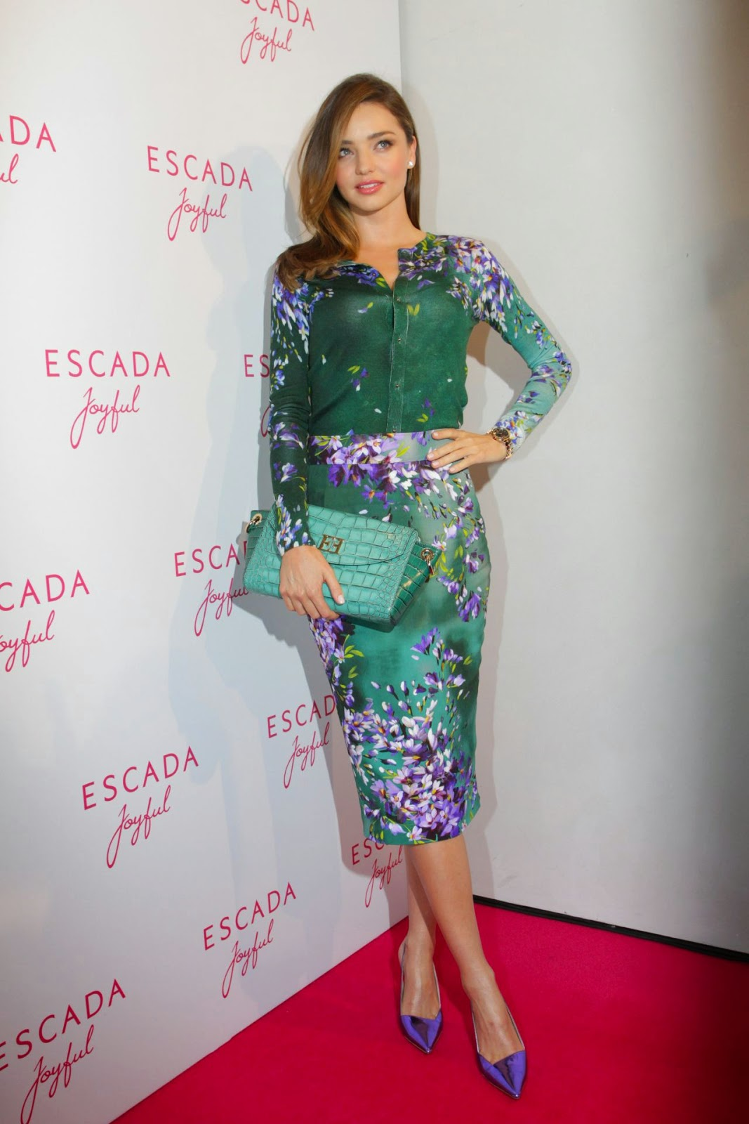 Miranda Kerr stuns in a floral printed dress at 'Escada Joyful' event in Munich