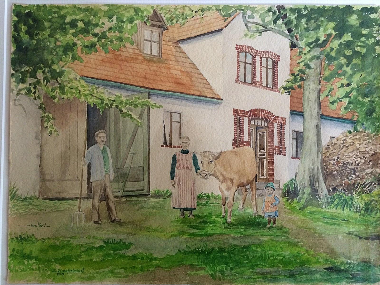 dom i jego mieszkańcy na przedwojennej akwareli