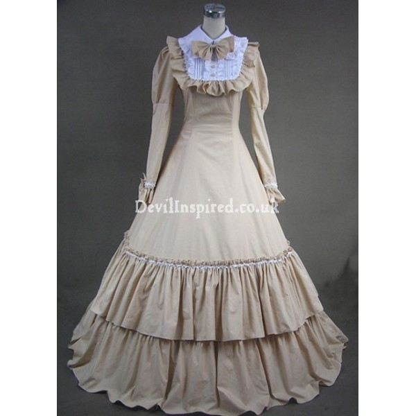 Classic Champagne and White Double-Layered Gothic Victorian Dress
