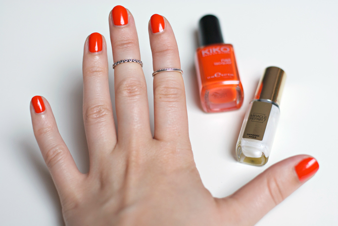 flashy orange kiko manicure swatches