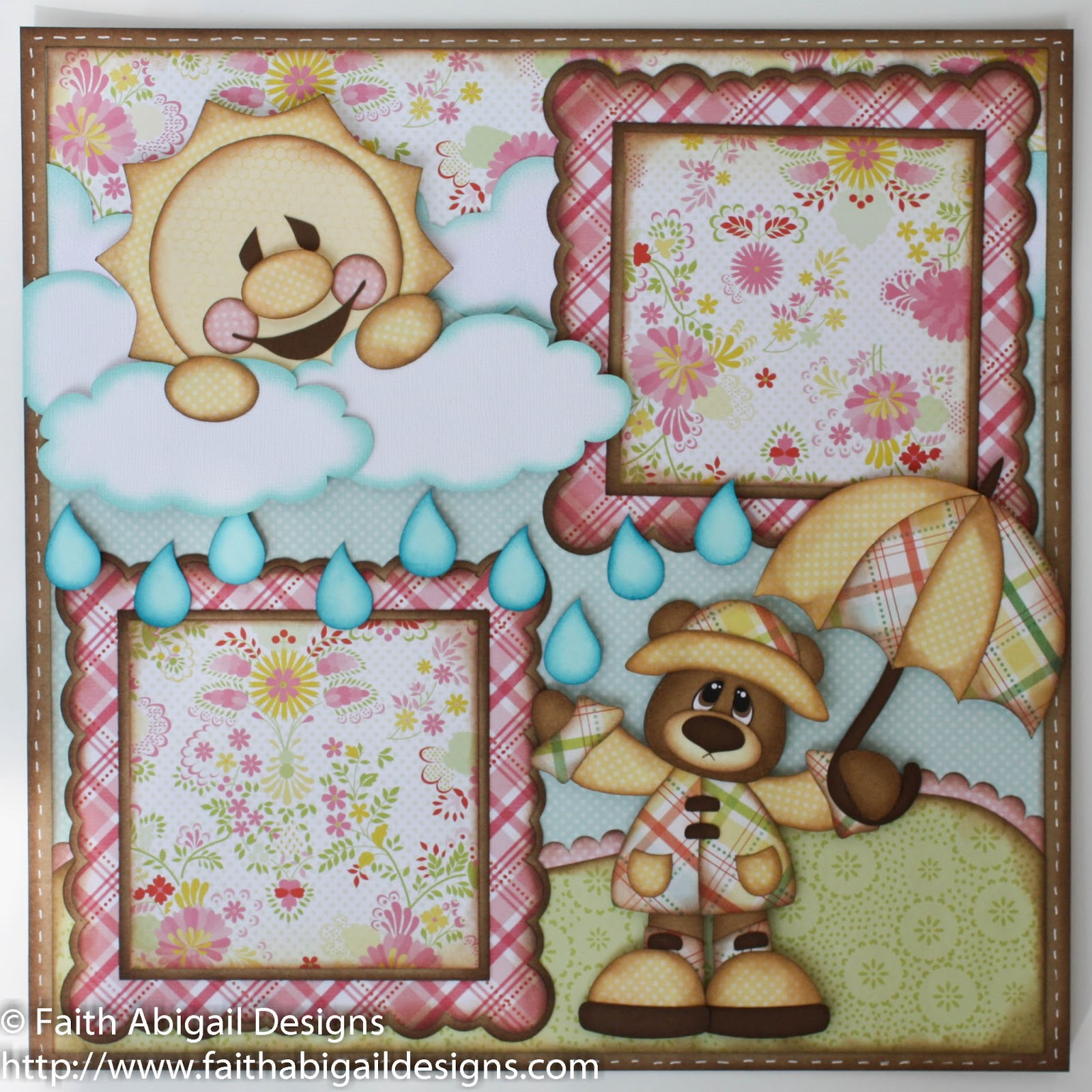 Scrapbook ideas and designs - Rainy Day Bear Scrapbook Layout