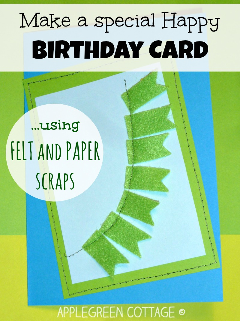 home-made birthday card from felt and paper