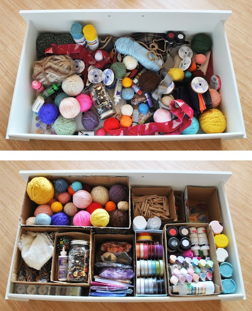 drawer filled with dividers organization